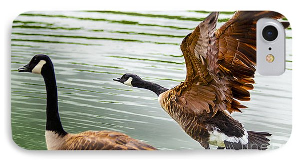 A Pair Of Canada Geese Landing On Rockland Lake Phone Case by Jerry Cowart