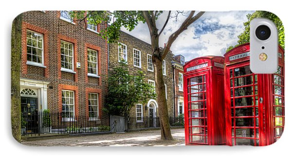 A Pair Of Red Phone Booths IPhone Case by Tim Stanley