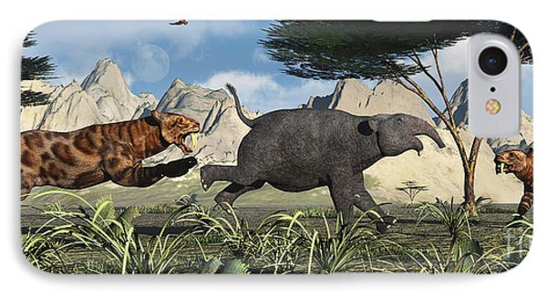 A Pair Of Sabre-toothed Tigers Chasing IPhone Case by Mark Stevenson
