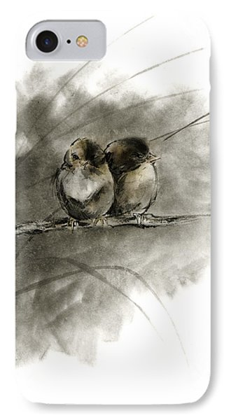 A Pair Of Sparrows Two Birds Brown Bird Original Ink Painting Artwork IPhone Case by Mariusz Szmerdt
