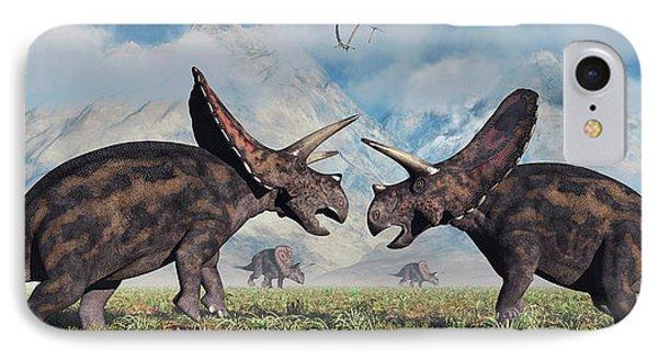 A Pair Of Torosaurus Dinosaurs Involved IPhone Case