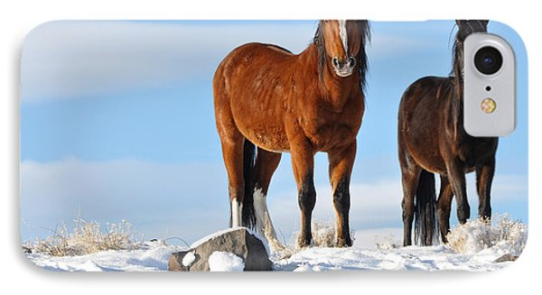 IPhone Case featuring the photograph A Pair Of Wild Mustangs In Snow by Vinnie Oakes