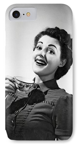 A Perky Woman Enjoys Her Cup Of Coffee. IPhone Case by Underwood Archives