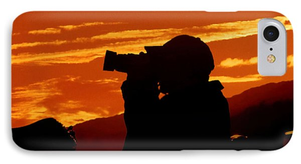 A Photographer Enjoying His Work IPhone Case by Kathy Baccari
