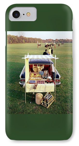 A Picnic Table Set Up On The Back Of A Car IPhone Case by Rudy Muller