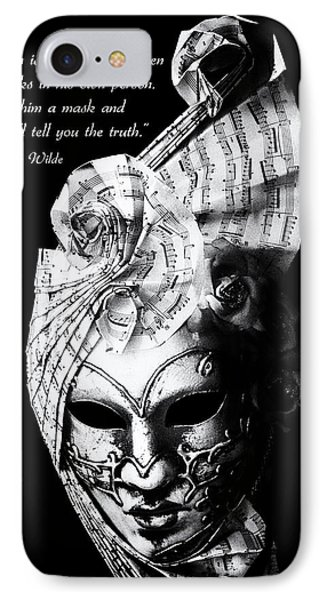 A Picture Of A Venitian Mask Accompanied By An Oscar Wilde Quote Phone Case by Nila Newsom