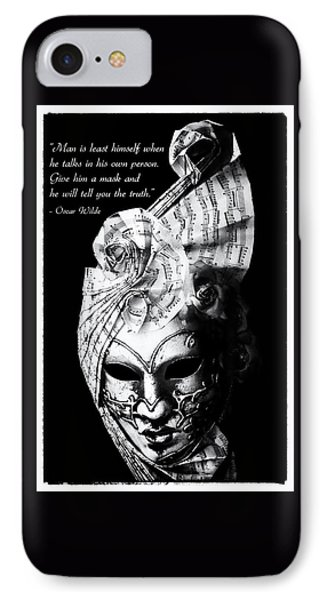 A Picture Of A Venitian Mask Accompanied By An Oscar Wilde Quote IPhone Case