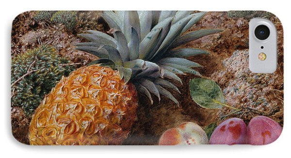 A Pineapple A Peach And Plums On A Mossy Bank IPhone Case by John Sherrin