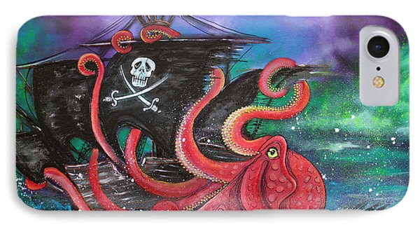 A Pirates Tale - Attack Of The Mutant Octopus Phone Case by Laura Barbosa