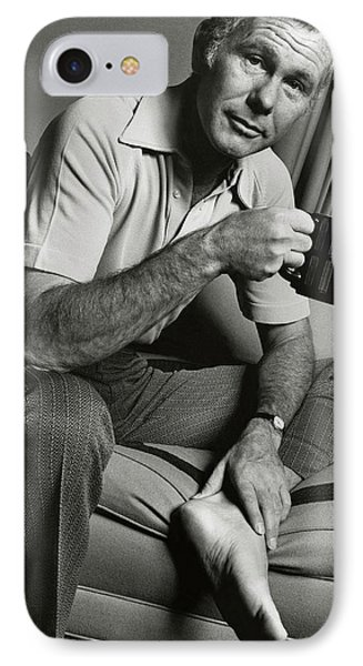 A Portrait Of Johnny Carson Sitting IPhone 7 Case by Bruce Bacon