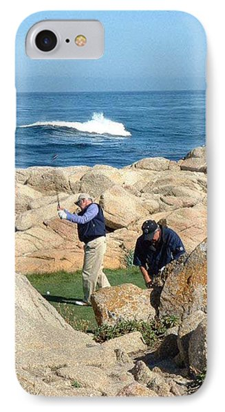 a practice swing at PEBBLE BEACH IPhone Case by Joan  Jones