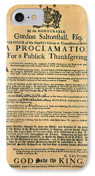 A Proclamation Of Thanksgiving Phone Case by Bill Cannon