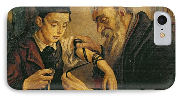 A Rabbi Tying The Phylacteries IPhone Case by Jewish School