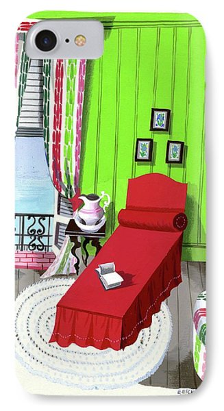 A Red Bed In A Bedroom IPhone Case by Edna Eicke
