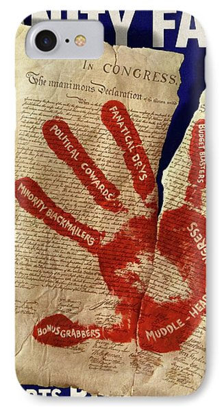 A Red Handprint On The Constitution IPhone Case by Artist Unknown