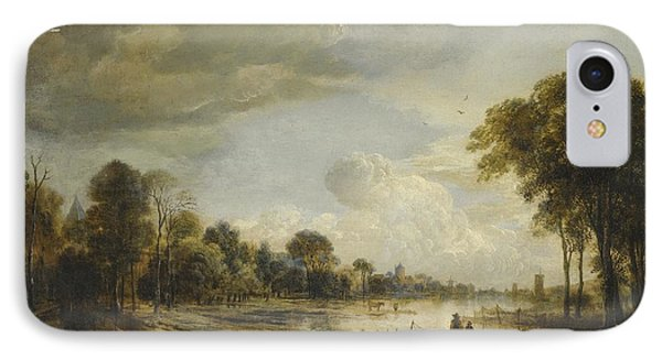 IPhone Case featuring the painting A River Landscape With Figures And Cattle by Gianfranco Weiss