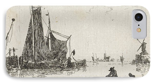 A River View With In The Foreground A Boat With Fishermen IPhone Case by Quint Lox