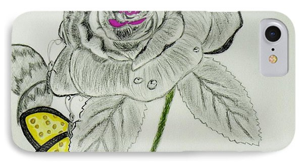 IPhone Case featuring the drawing A Rose By Any Other Name by Celeste Manning