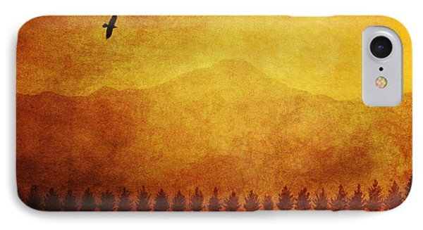 A Row Of Trees And A Raven Silhouetted Phone Case by Roberta Murray