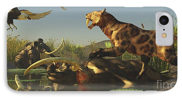 A Saber Tooth Cat Attacks A Woolly IPhone Case by Corey Ford