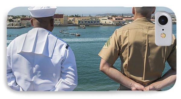 A Sailor And Marine Man The Rails Phone Case by Stocktrek Images