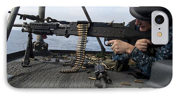 A Sailor Fires An M-240b Machine Gun Phone Case by Stocktrek Images