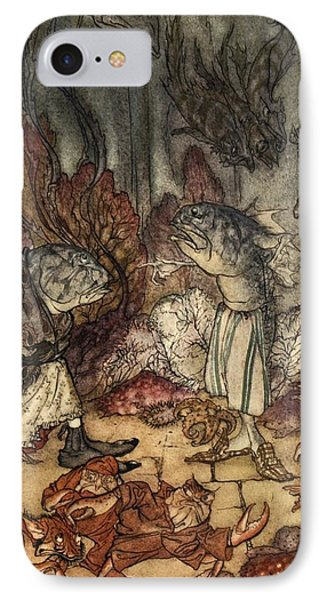 A Scaly Set Of Rascals, Illustration IPhone Case by Arthur Rackham