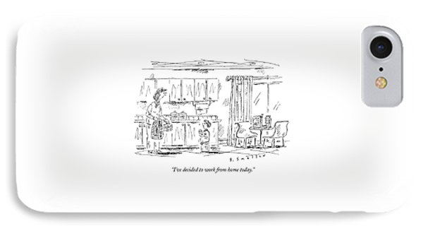 A Schoolboy Speaks To His Mother In The Kitchen IPhone Case by Barbara Smaller