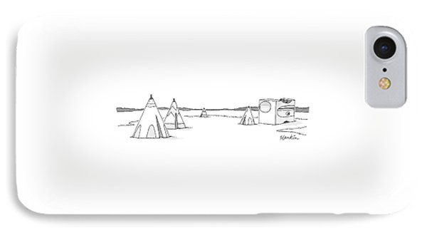 A Set Of Tepees Stands Next To A Large Pencil IPhone Case by Charlie Hankin