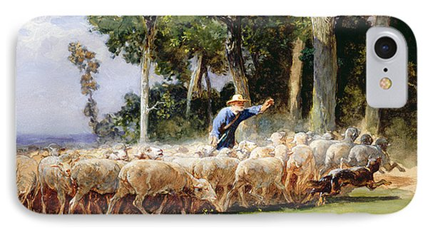 A Shepherd With A Flock Of Sheep IPhone Case by Charles Emile Jacques