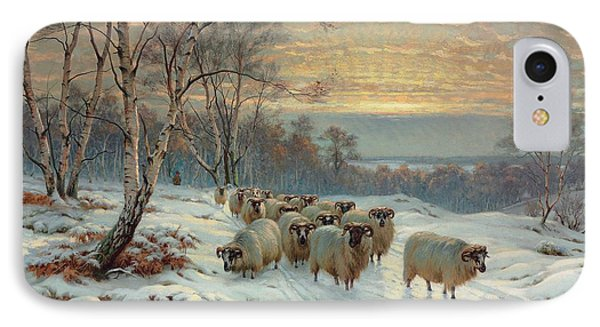 A Shepherd With His Flock In A Winter Landscape IPhone Case by Wright Baker
