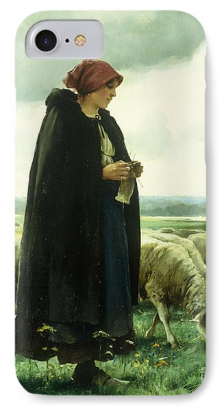 A Shepherdess With Her Flock IPhone Case by Julien Dupre