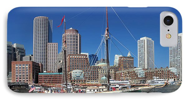 IPhone Case featuring the photograph A Ship In Boston Harbor by Mitchell Grosky