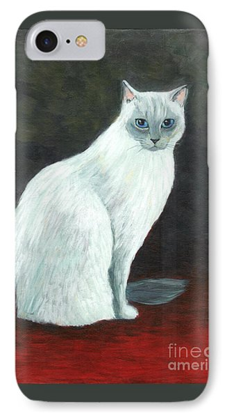 IPhone Case featuring the painting A Siamese Cat On Red Mat by Jingfen Hwu