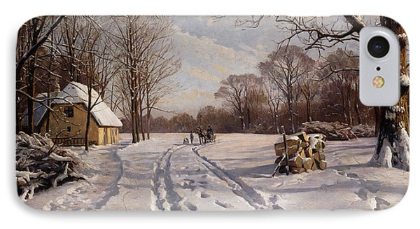 A Sleigh Ride Through A Winter Landscape IPhone Case by Peder Monsted
