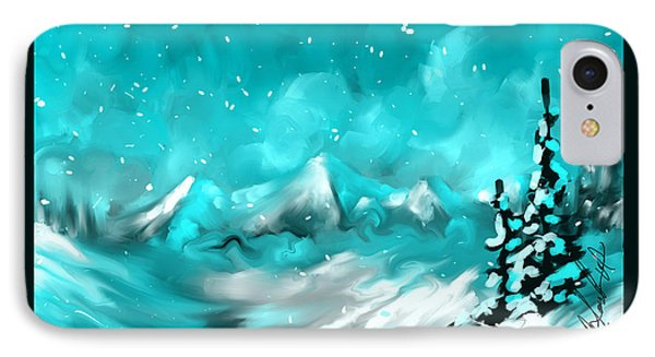 IPhone Case featuring the painting A Slight Chance Of Snow by Steven Lebron Langston