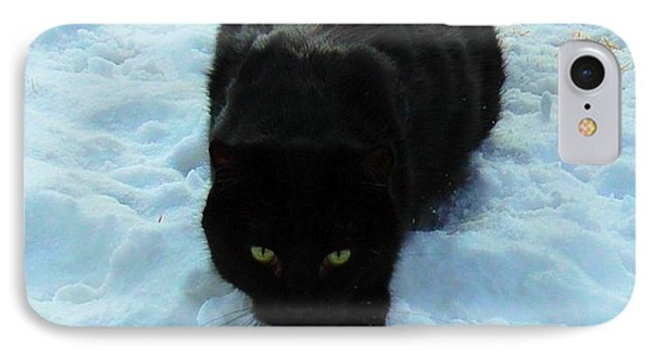A Small Panther In The Snow Phone Case by Cheryl Poland