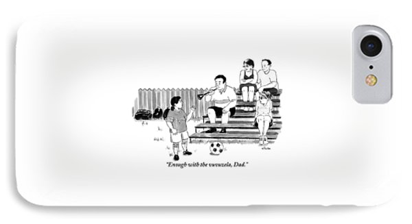 A Soccer-playing Little Girl Chastises Her Father IPhone Case