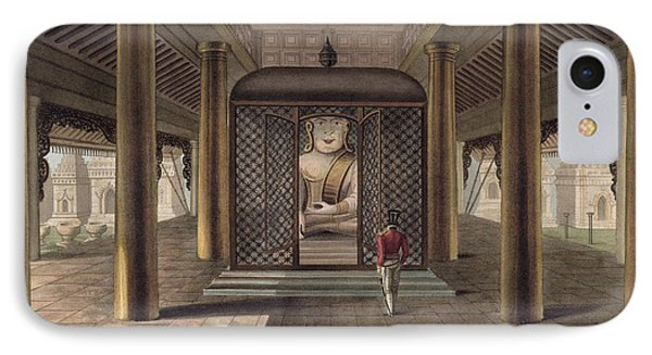 A Soldier Standing In A Rangoon Temple IPhone Case by Joseph Moore