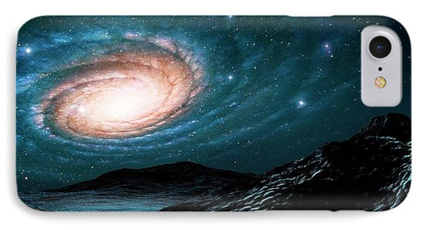 A Spiral Galaxy Seen From A Planet IPhone Case by Mark Garlick