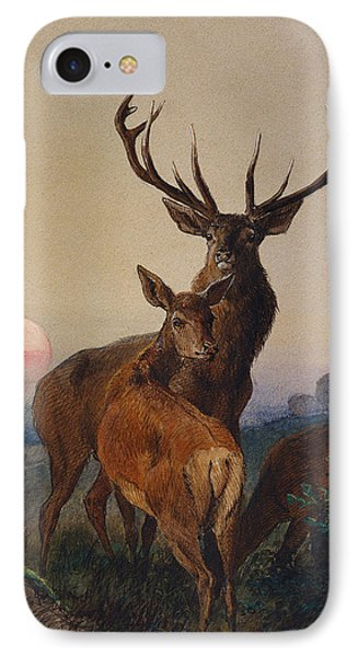 A Stag With Deer In A Wooded Landscape At Sunset IPhone Case by Charles Jones