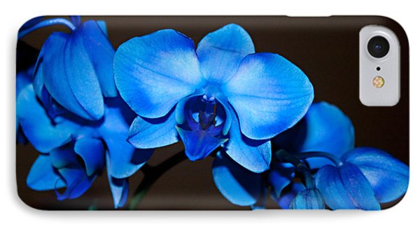 IPhone Case featuring the photograph A Stem Of Beautiful Blue Orchids by Sherry Hallemeier