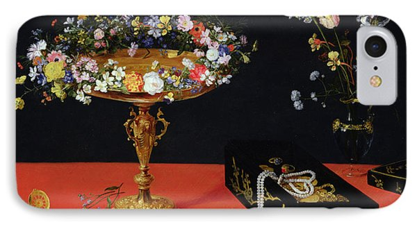 A Still Life Of A Tazza With Flowers  IPhone Case by Jan the Younger Brueghel