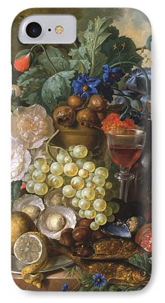 A Still Life With Fruits And Flowers With Oysters Mussels A Glass Of Wine And A Decanter IPhone Case by Jan van Os