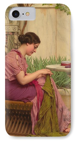 A Stitch Is Free Or A Stitch In Time 1917 IPhone Case by John William Godward