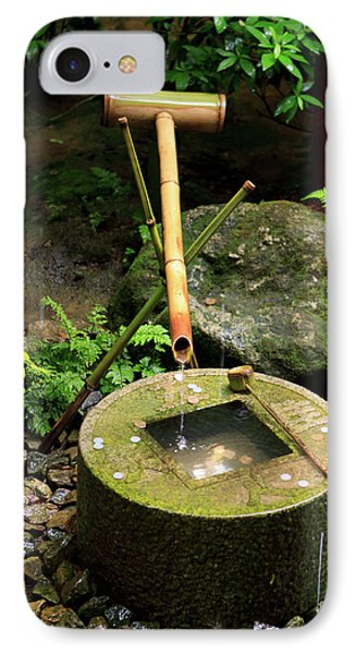 A Stone Water Basin In The Grounds IPhone Case by Paul Dymond
