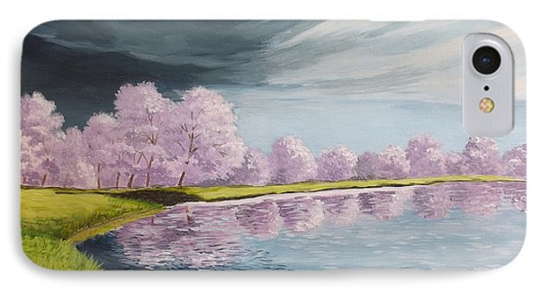 A Storm Over Cherry Trees Phone Case by Wanda Dansereau