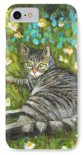 IPhone Case featuring the painting A Striped Cat On Floral Carpet by Jingfen Hwu