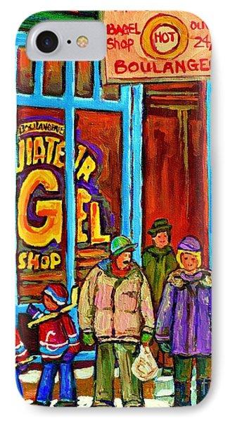 A Stroll After The Hockey Game St Viateur Bagel Montreal Winter Street Carole Spandau IPhone Case by Carole Spandau