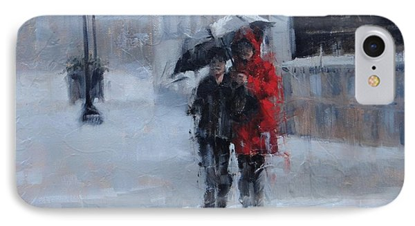 A Stroll In The Rain IPhone Case by Laura Lee Zanghetti